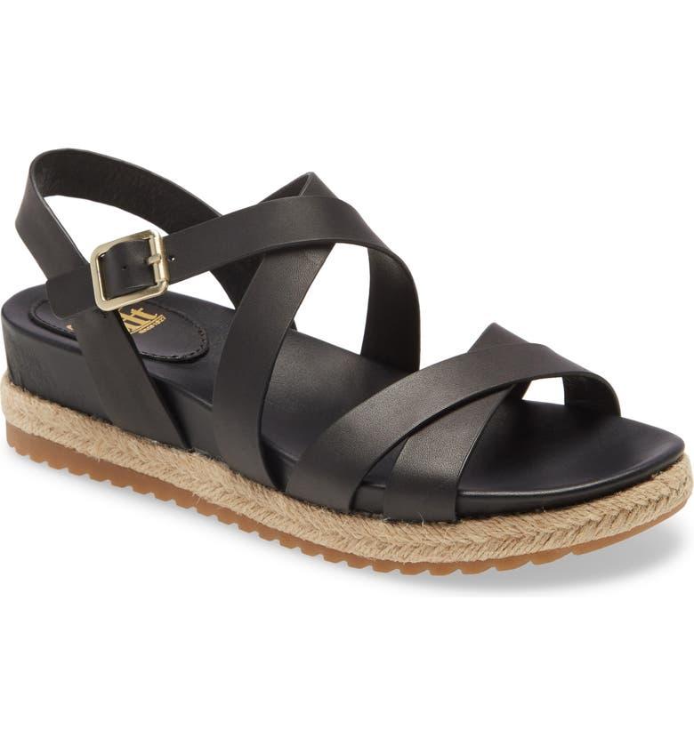 SÖFFT Beechwood Platform Sandal, Main, color, BLACK LEATHER