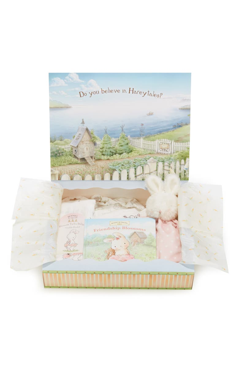 BUNNIES BY THE BAY Welcome Sweet Baby Cap, Gown, Swaddle Blanket, Stuffed Animal & Book Set, Main, color, PINK