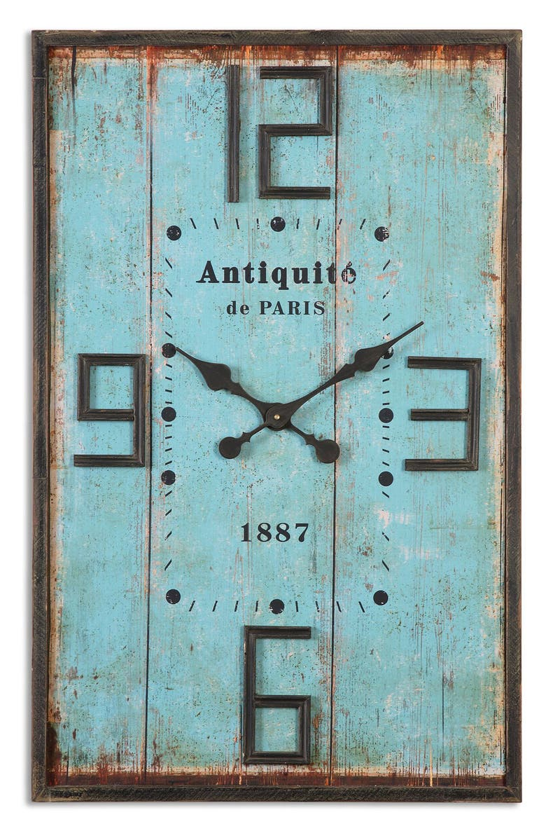 UTTERMOST Antiquite Wall Clock, Main, color, BLUE/ BROWN