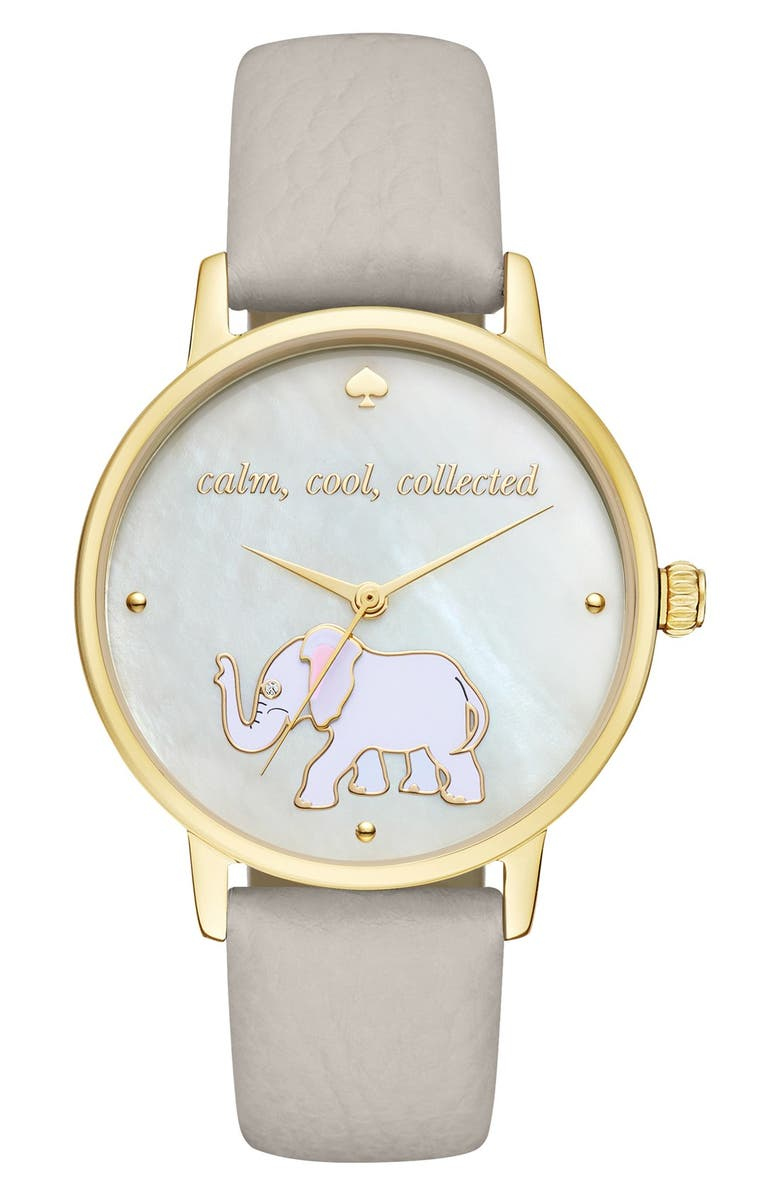 KATE SPADE NEW YORK 'metro' elephant leather strap watch, 34mm, Main, color, 020