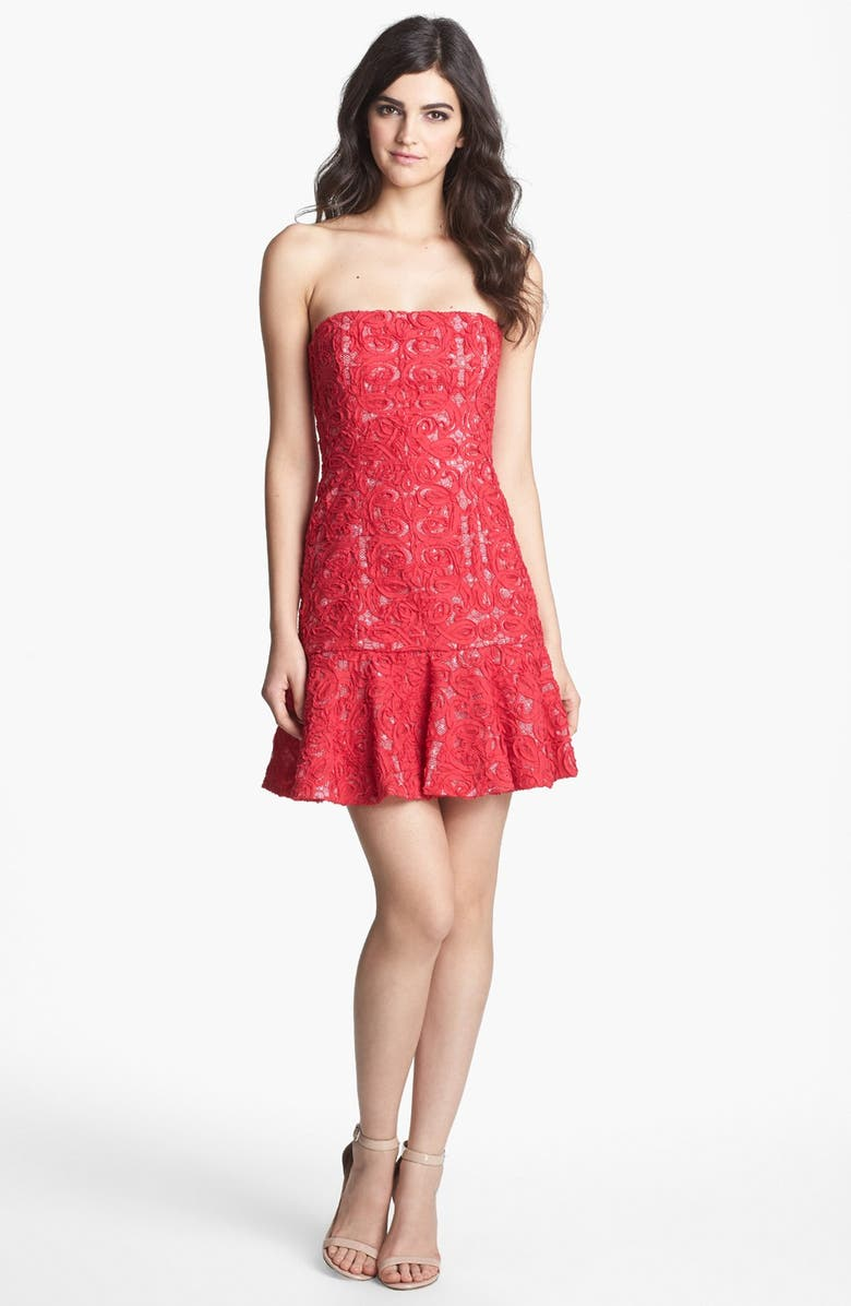 BCBGMAXAZRIA Soutache Lace Drop Waist Dress, Main, color, 632
