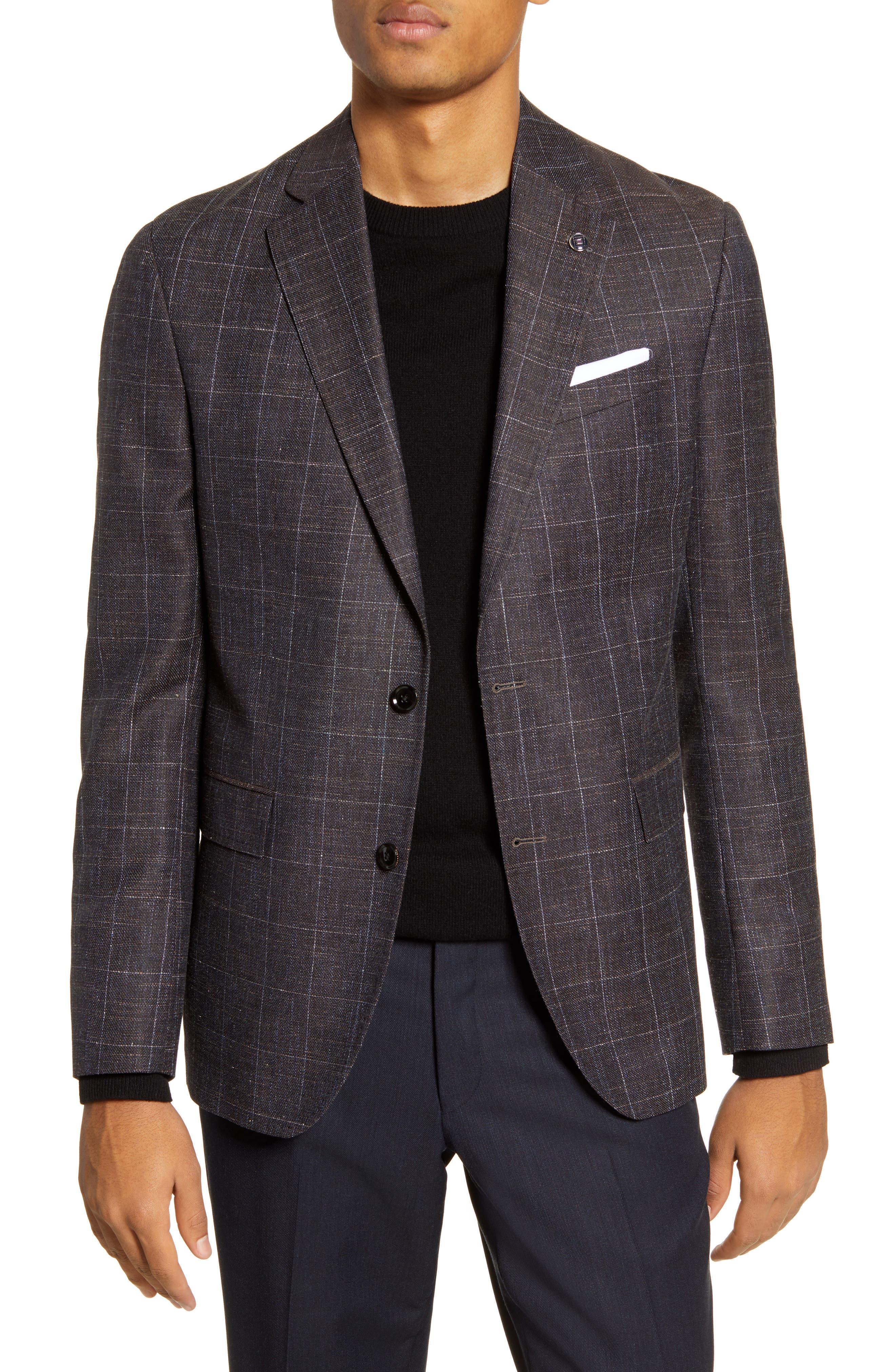 Image of Ted Baker London Konan Trim Fit Windowpane Wool Blend Sport Coat