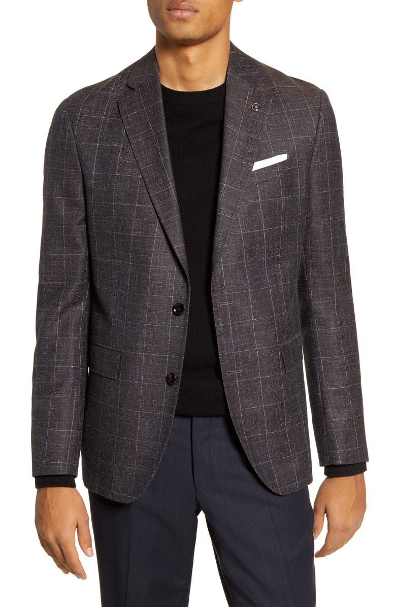 TED BAKER LONDON Konan Trim Fit Windowpane Wool Blend Sport Coat, Main, color, BROWN