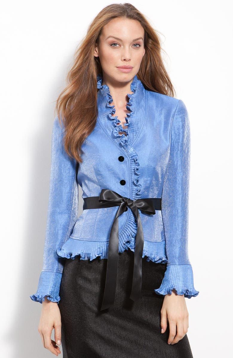 ADRIANNA PAPELL Ruffle Shimmer Satin Jacket, Main, color, 408