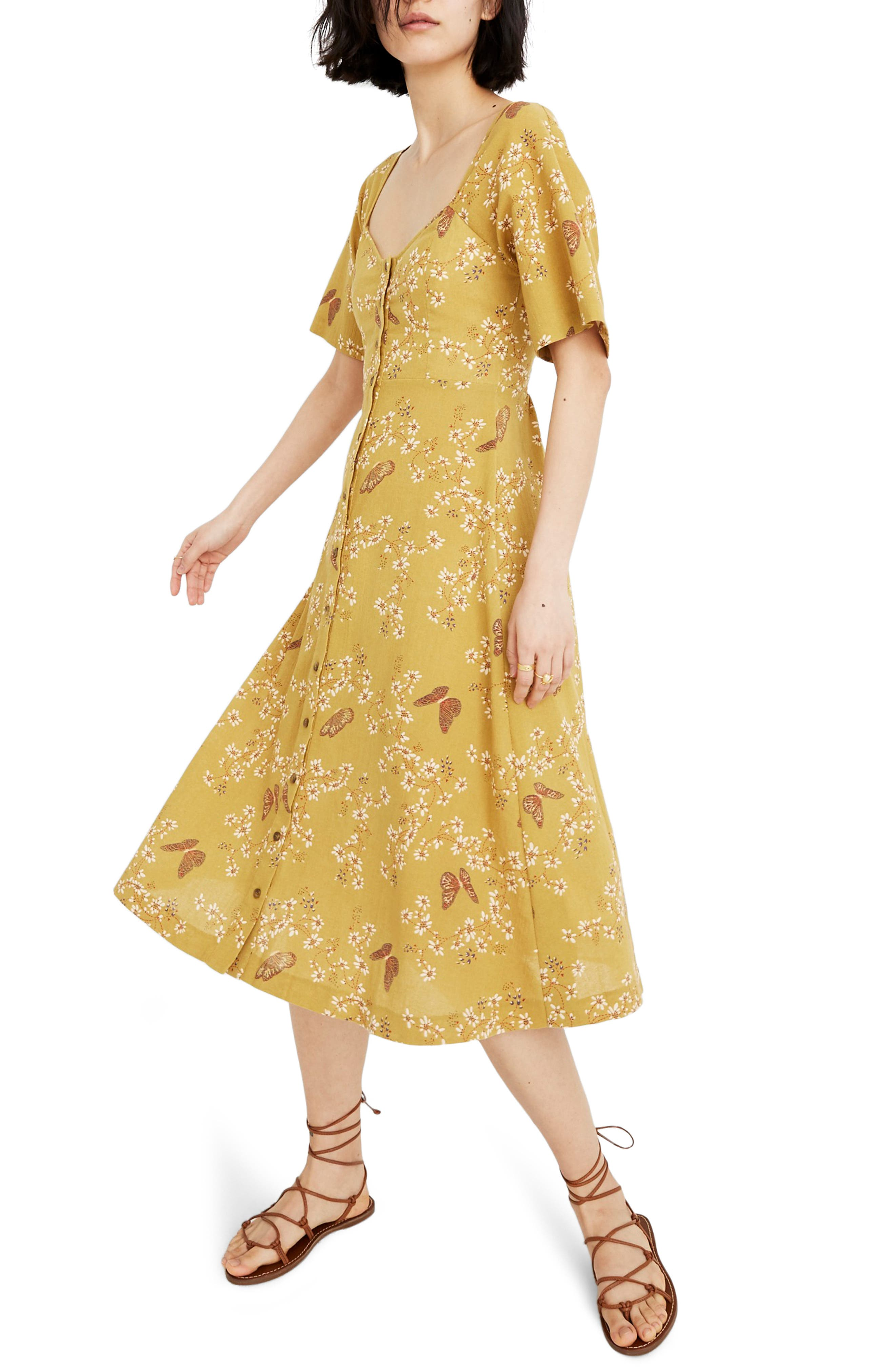 Madewell Windowbox Floral Flutter Sleeve Midi Dress, Green