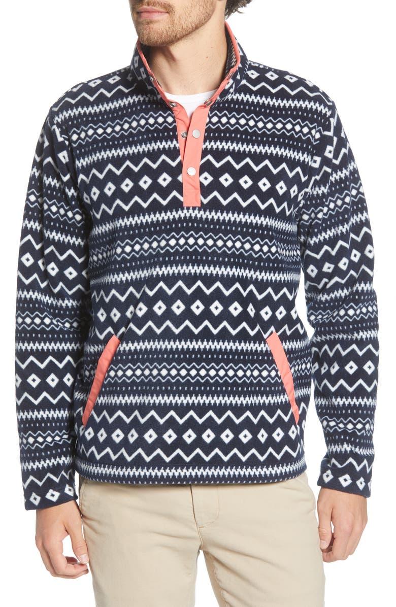 BONOBOS Polar Fleece Quarter Snap Pullover, Main, color, POLOR FLEECE PRINT
