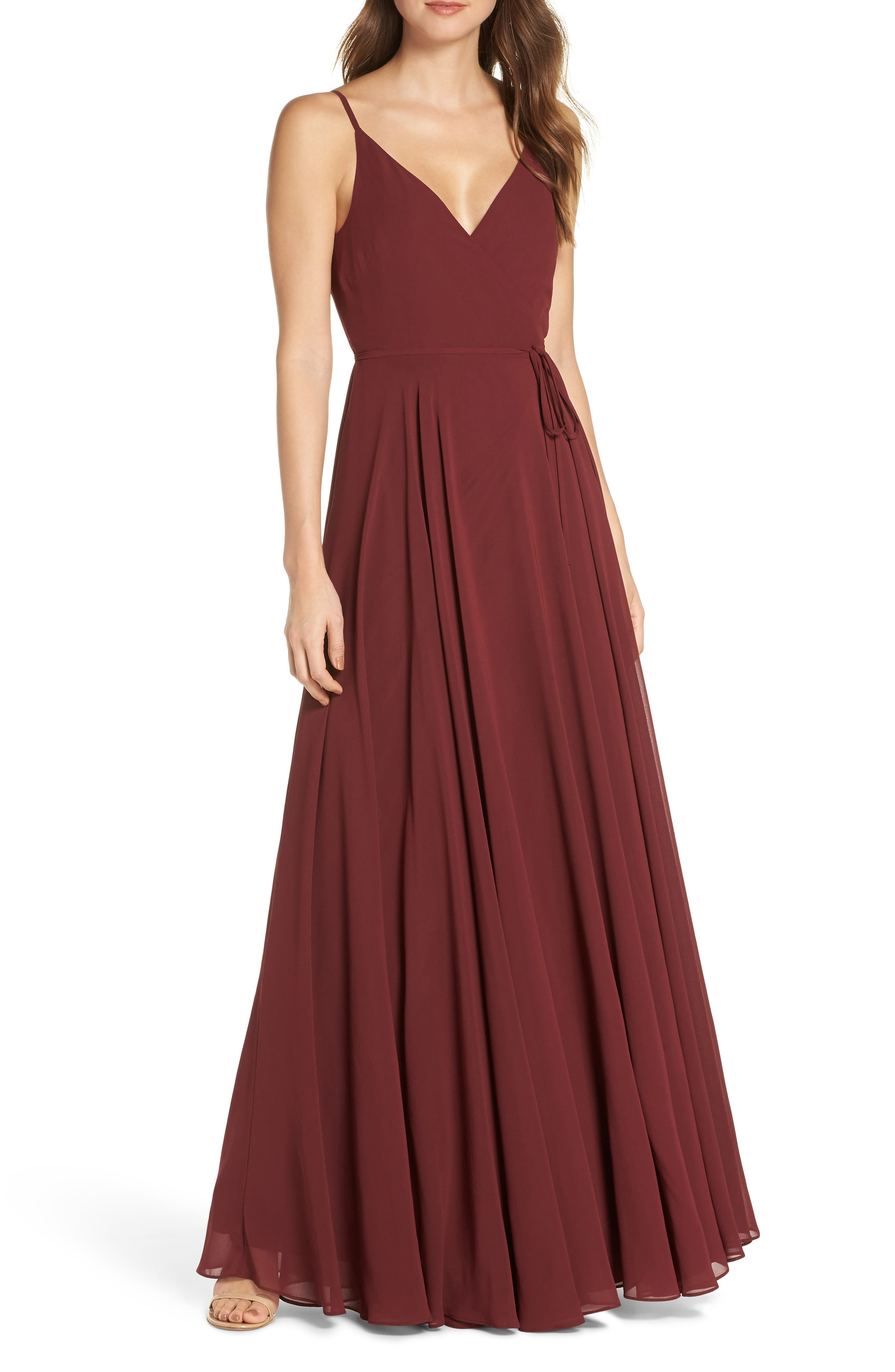 Jenny Yoo James Sleeveless Wrap Chiffon Evening Dress, Red