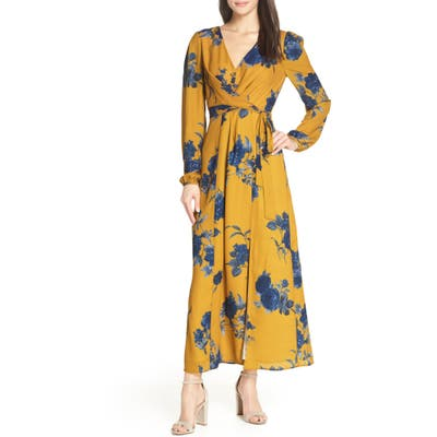 Chelsea28 Floral Print Faux Wrap Maxi Dress, Yellow