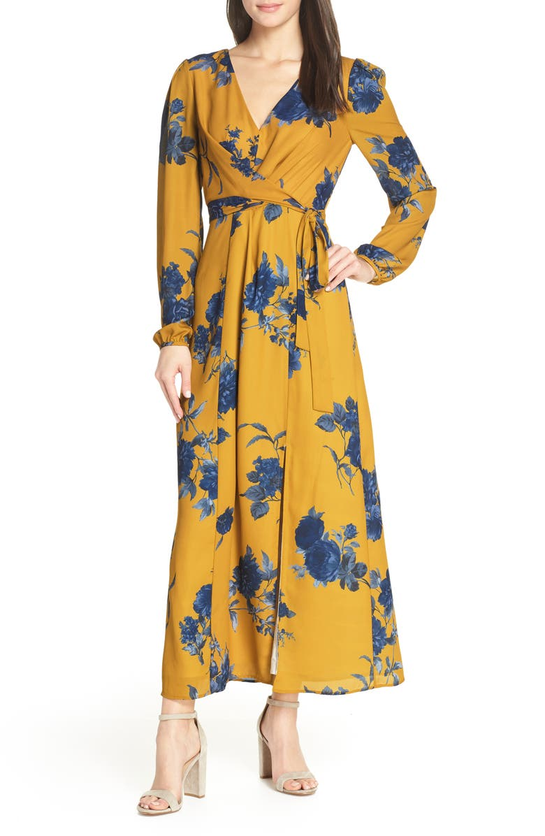 CHELSEA28 Floral Print Long Sleeve Faux Wrap Maxi Dress, Main, color, YELLOW NAVY