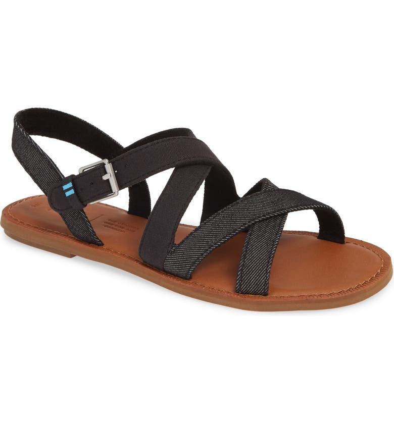 TOMS Sicily Sandal, Main, color, BLACK CANVAS