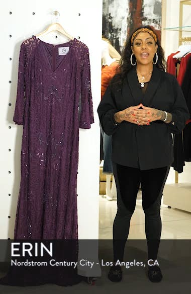 Bell Sleeve Bead & Soutache Gown, sales video thumbnail