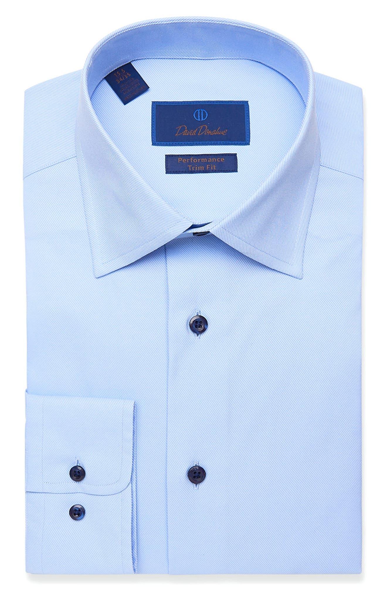 Trim Fit Peformance Stretch Solid Dress Shirt