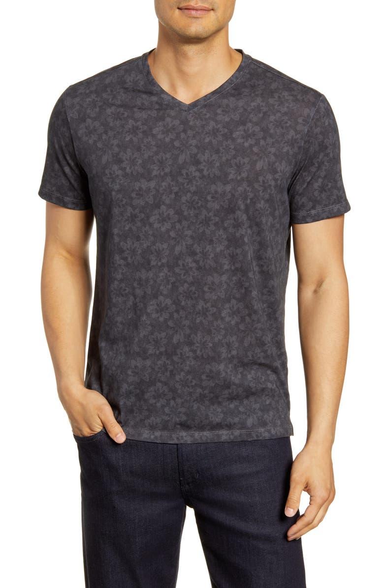 ROBERT BARAKETT Floral V-Neck T-Shirt, Main, color, BLACK