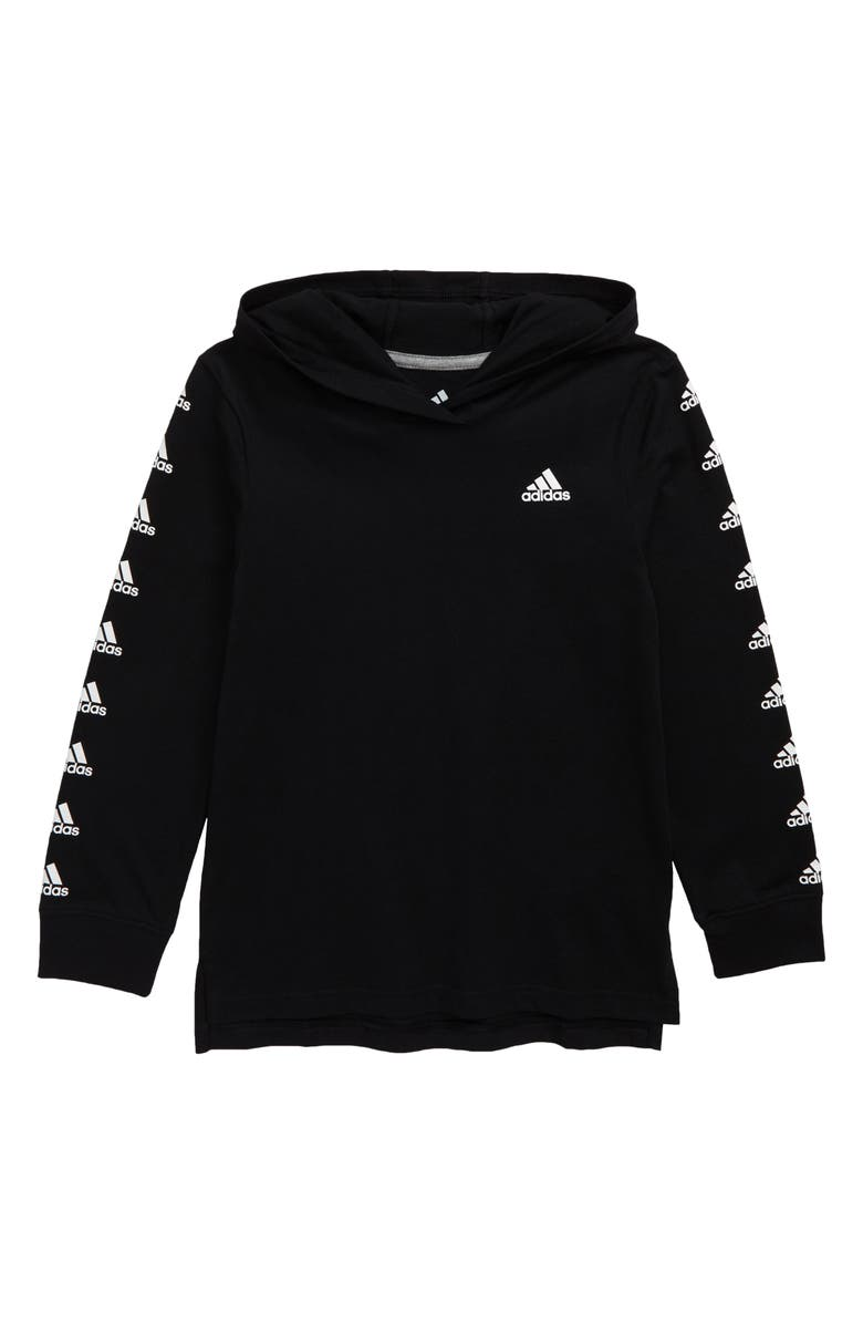 ADIDAS Hooded T-Shirt, Main, color, BLACK