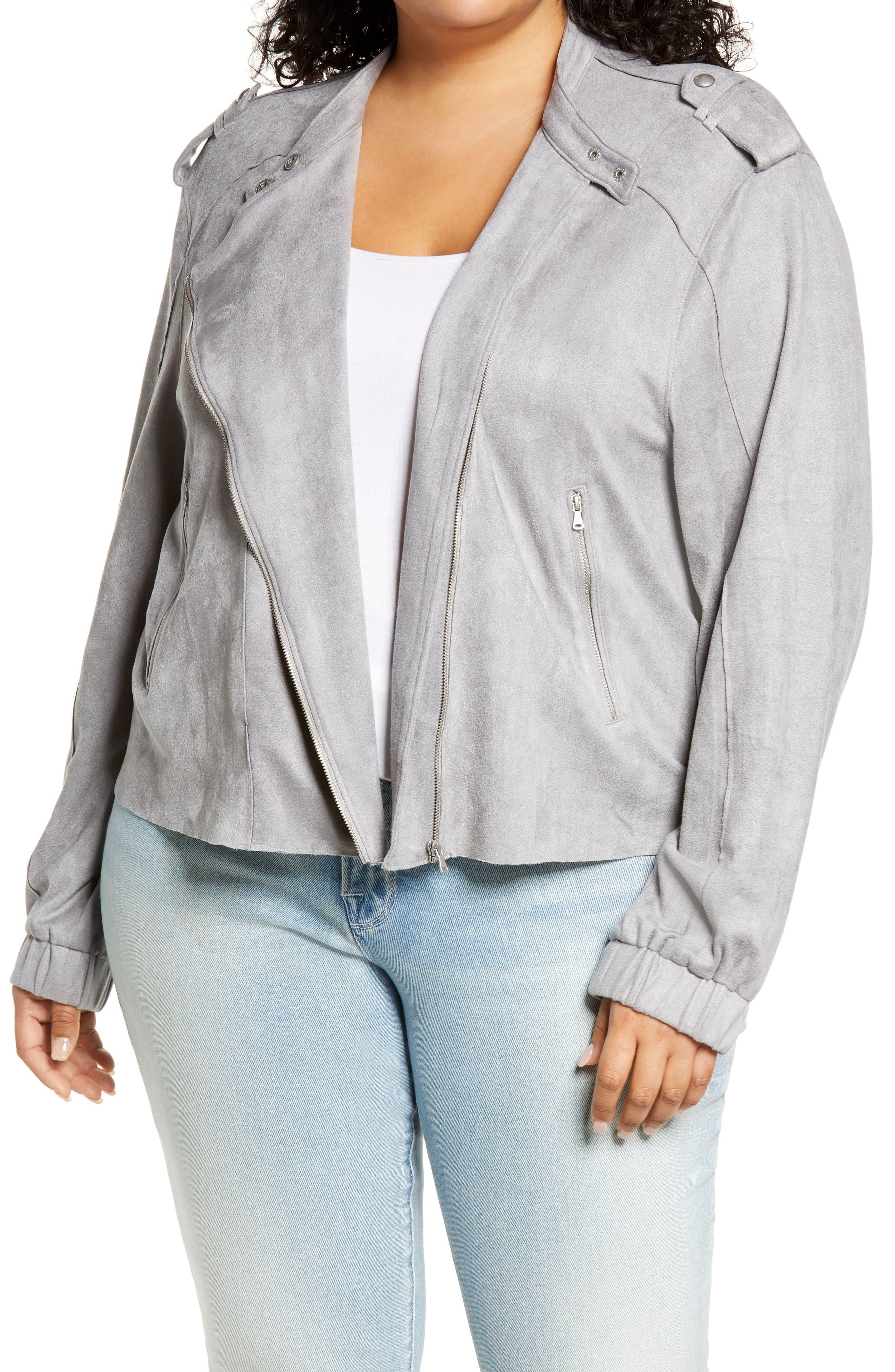 Plus Size Women's Blanknyc Faux Suede Moto Jacket, Size 1X - Grey