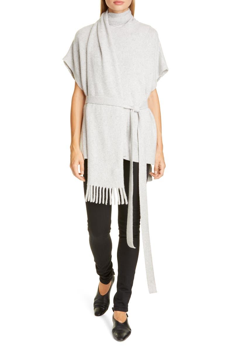 PROENZA SCHOULER Short Sleeve Cashmere Scarf Sweater, Main, color, LIGHT GREY MELANGE