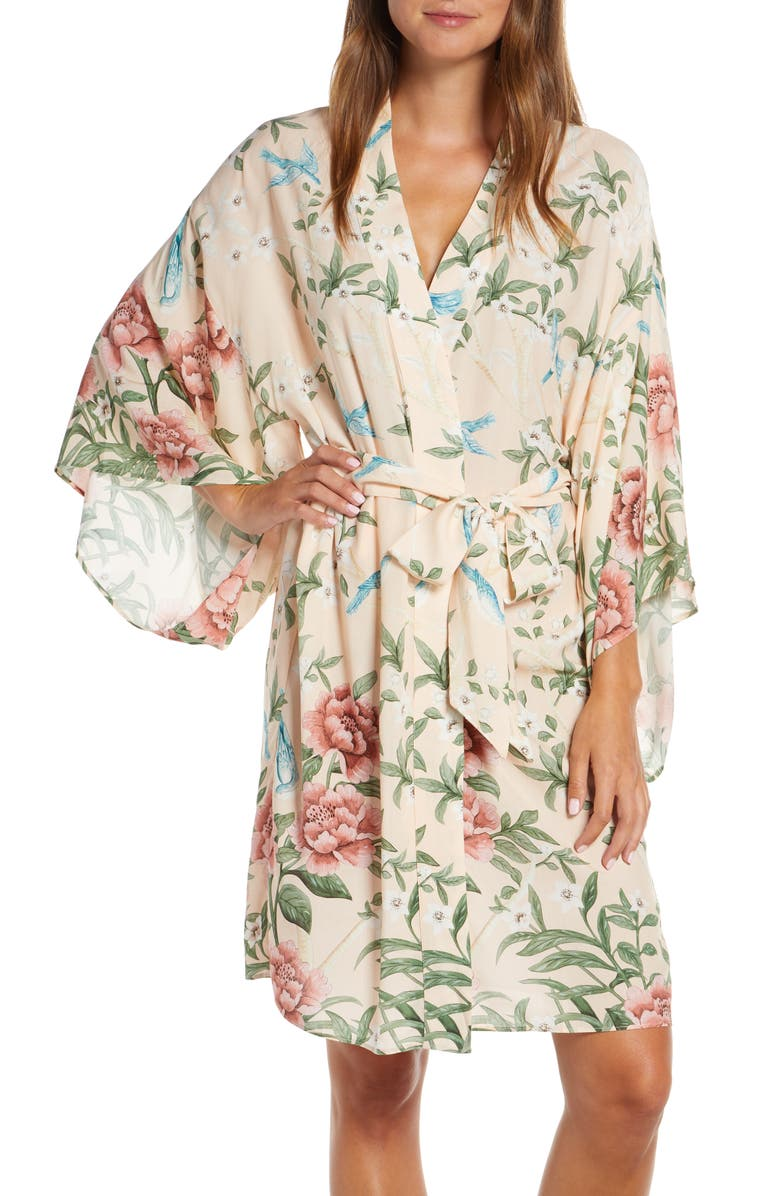 HOMEBODII Natice Short Robe, Main, color, PINK PRINT