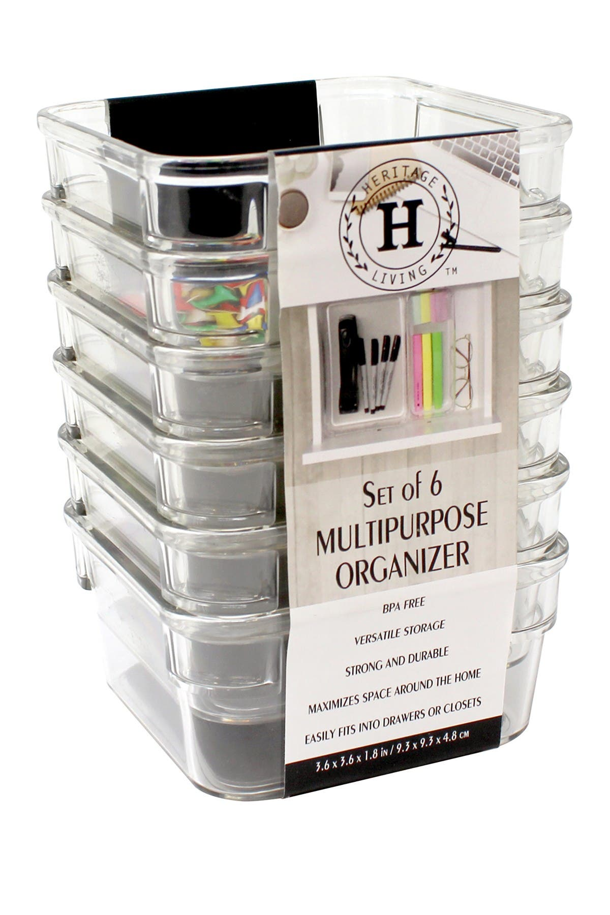 Image of Gourmet Home Heritage Clear Multipurpose Organizers - Set of 6