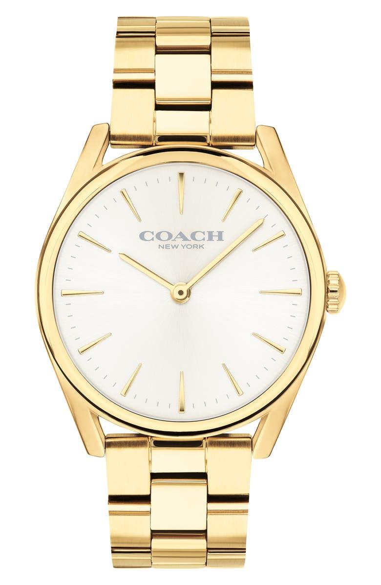 COACH Preston Bracelet, 34mm, Main, color, GOLD/ CHALK