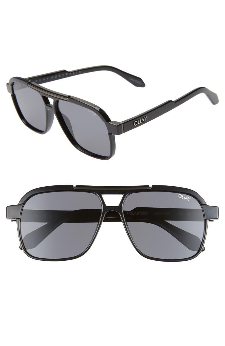 QUAY AUSTRALIA Nemesis 56mm Polarized Navigator Sunglasses, Main, color, BLACK/SMOKE