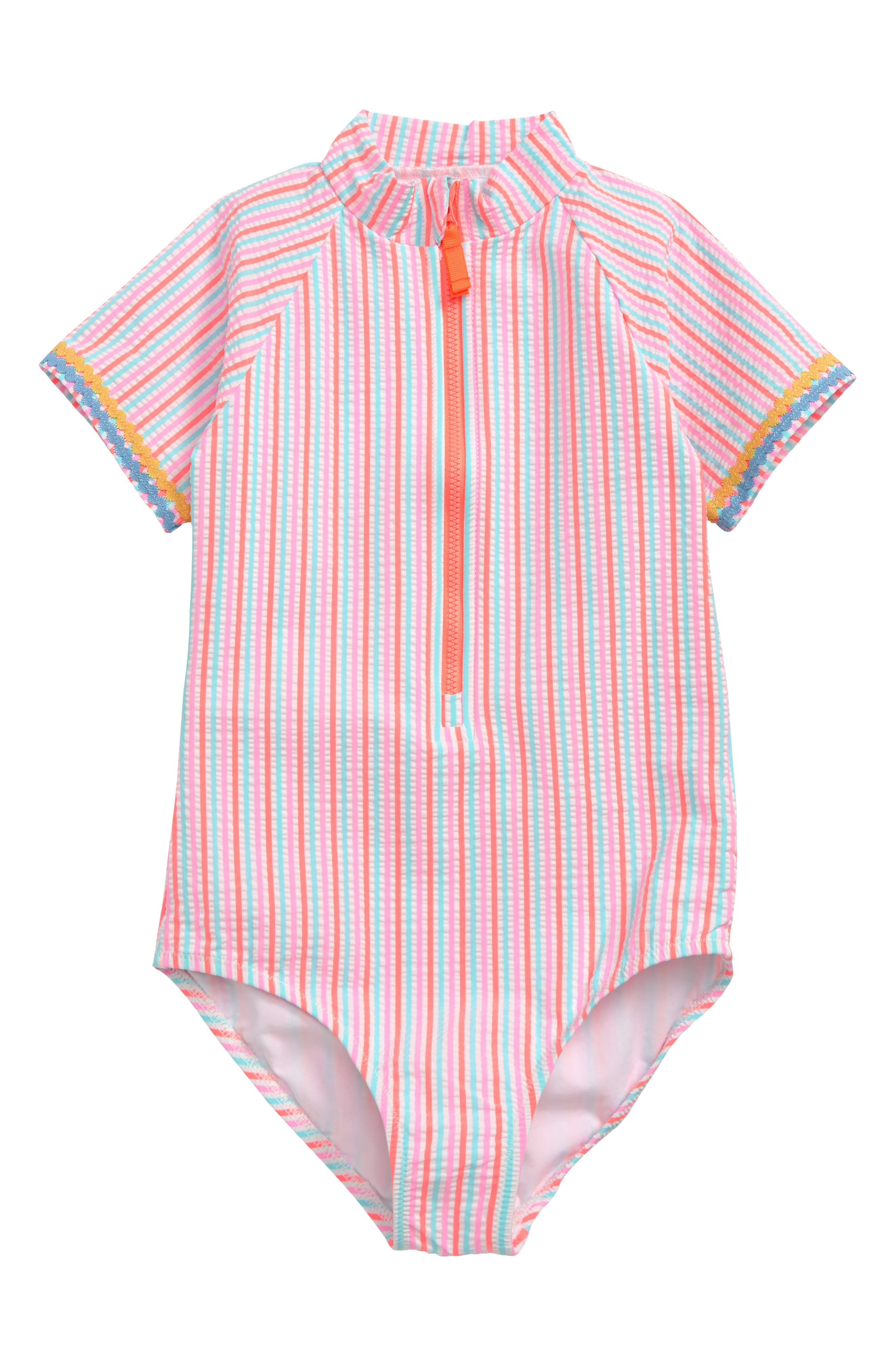 Girls Crewcuts By Jcrew Short Sleeve OnePiece Swimsuit Size 12  Pink