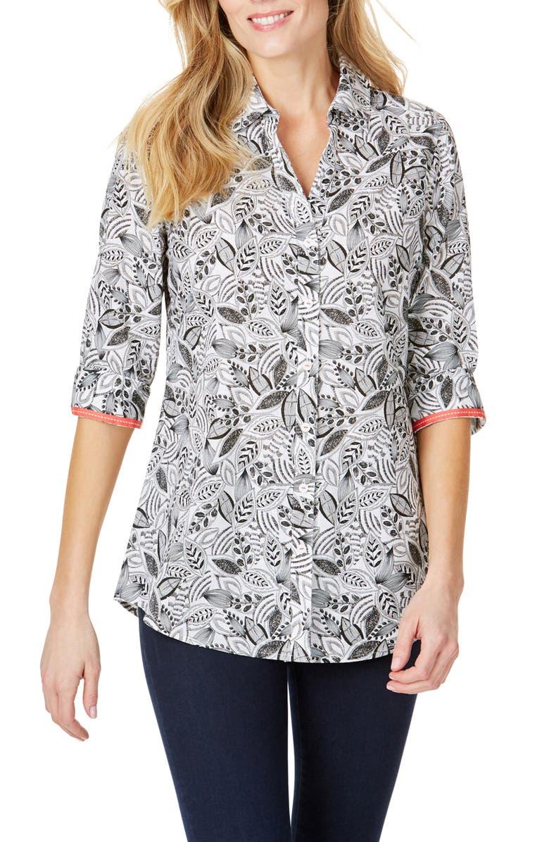 FOXCROFT Faith Leaf Print Wrinkle Free Tunic Shirt, Main, color, BLACK