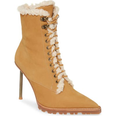 Jeffrey Campbell Truckstop Faux Fur Lace-Up Boot, Brown