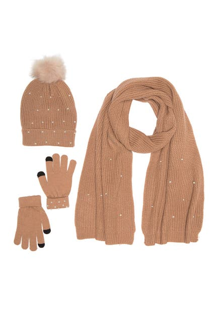 Image of French Connection Chenille Faux Pearl Hat, Gloves, & Scarf 3-Piece Set