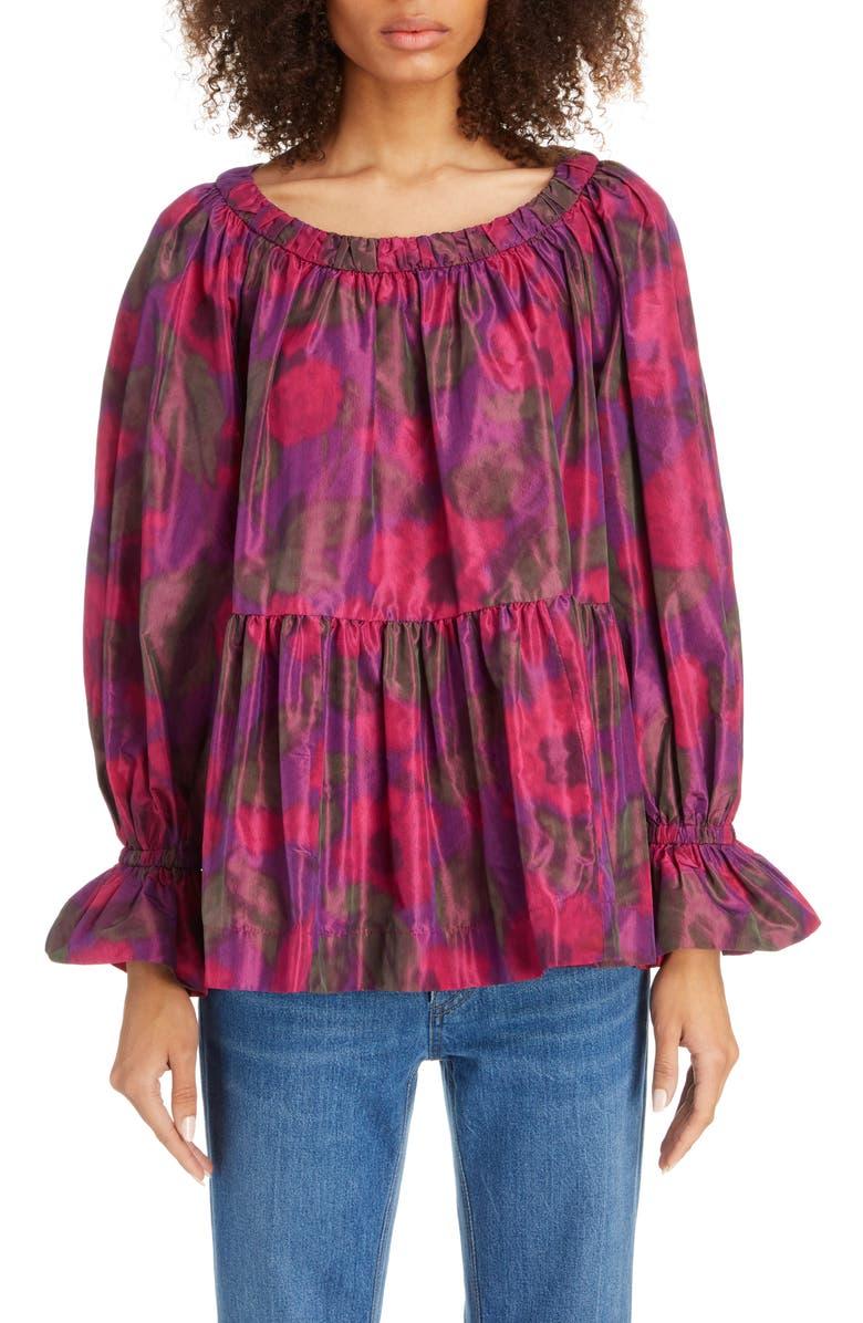 MARC JACOBS Floral Print Silk Blouse, Main, color, PURPLE MULTI