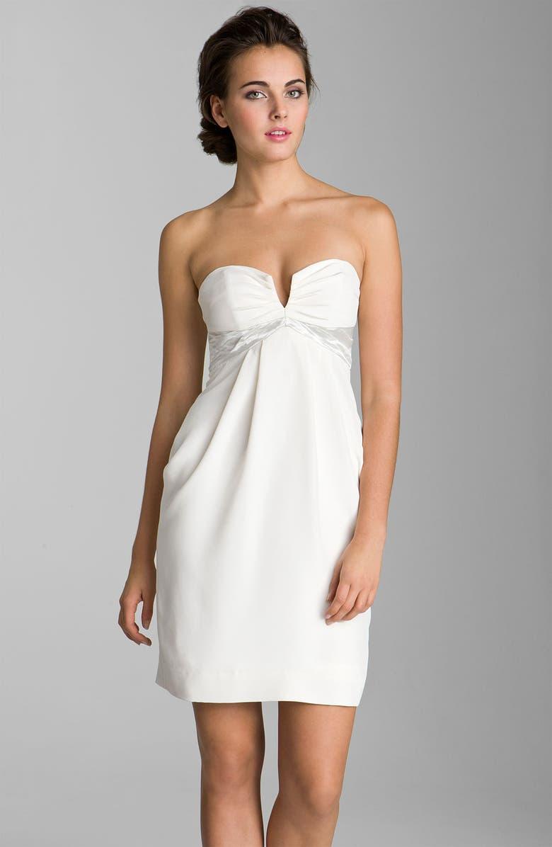 NICOLE MILLER Sweetheart Neckline Draped Silk Dress, Main, color, 900