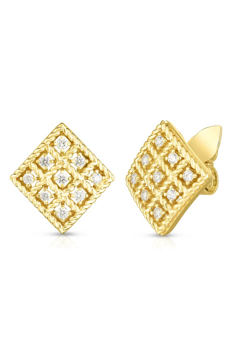 ROBERTO COIN Byzantine Barocco Diamond Earrings, Main, color, YELLOW GOLD
