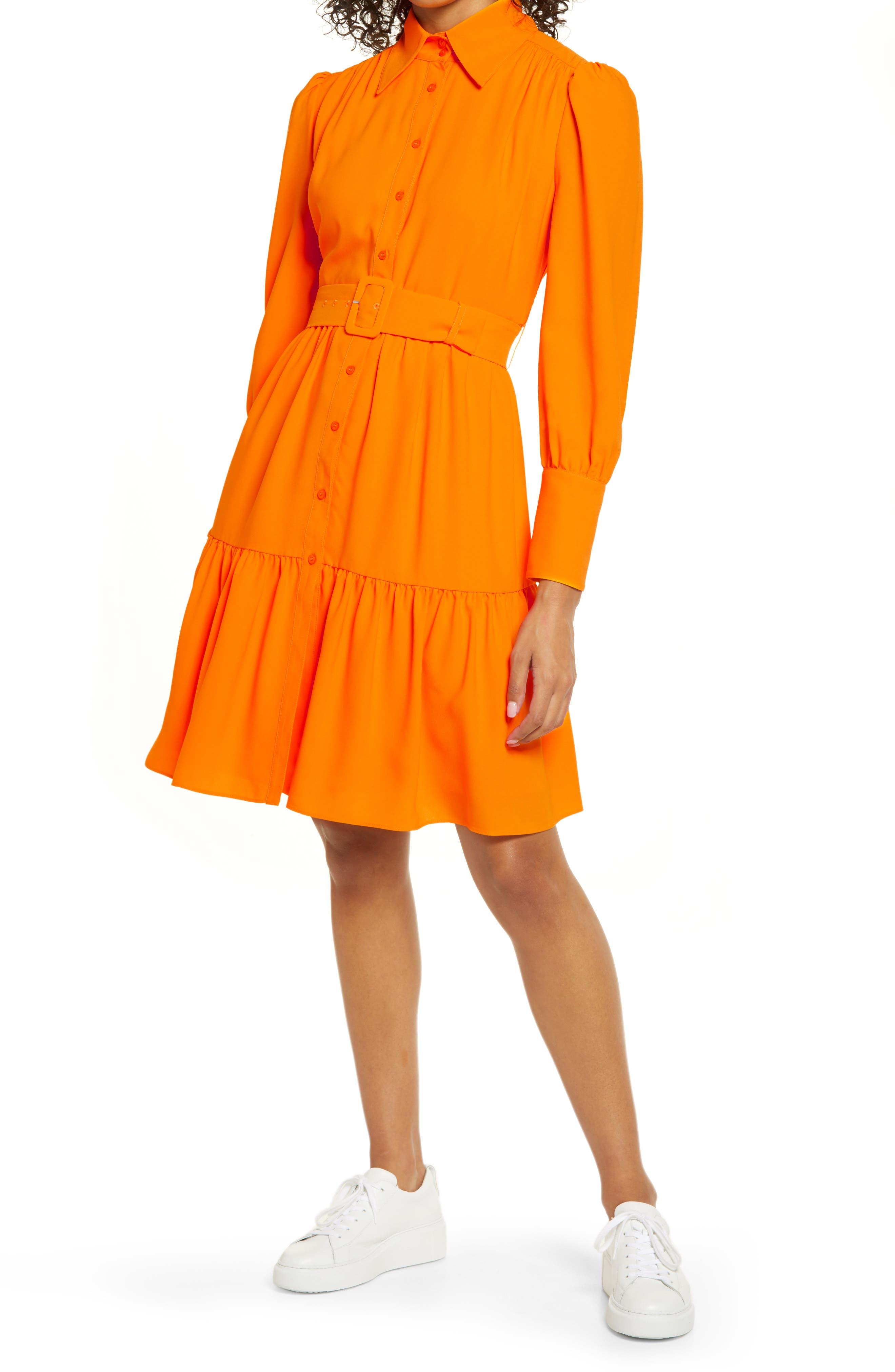 60s Dresses | 1960s Dresses Mod, Mini, Hippie Womens Halogen X Atlantic-Pacific Belted Long Sleeve Shirtdress Size 16 - Orange $119.00 AT vintagedancer.com