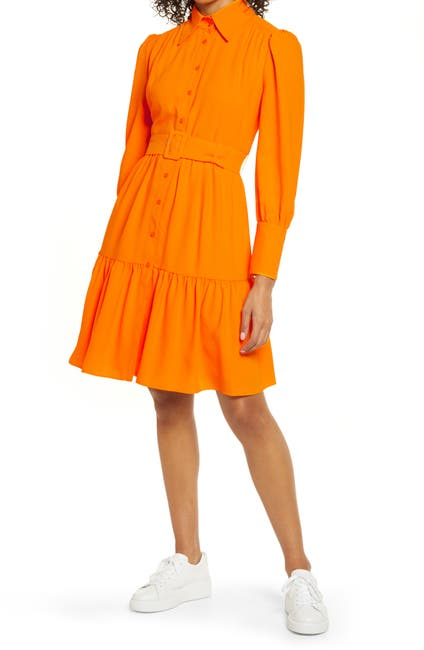 Image of Halogen® x Atlantic-Pacific Belted Long Sleeve Shirtdress