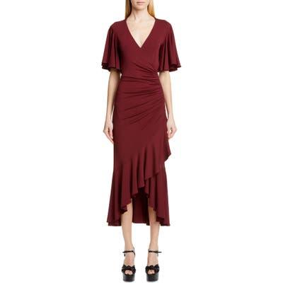 Michael Kors Ruffle Faux Wrap Midi Dress, Burgundy
