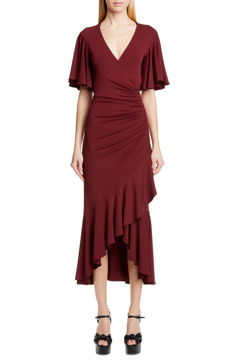 MICHAEL KORS COLLECTION Michael Kors Ruffle Faux Wrap Midi Dress, Main, color, BURGUNDY