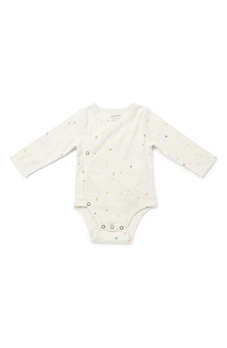 PEHR Celestial Organic Cotton Wrap Bodysuit, Main, color, IVORY MULTI