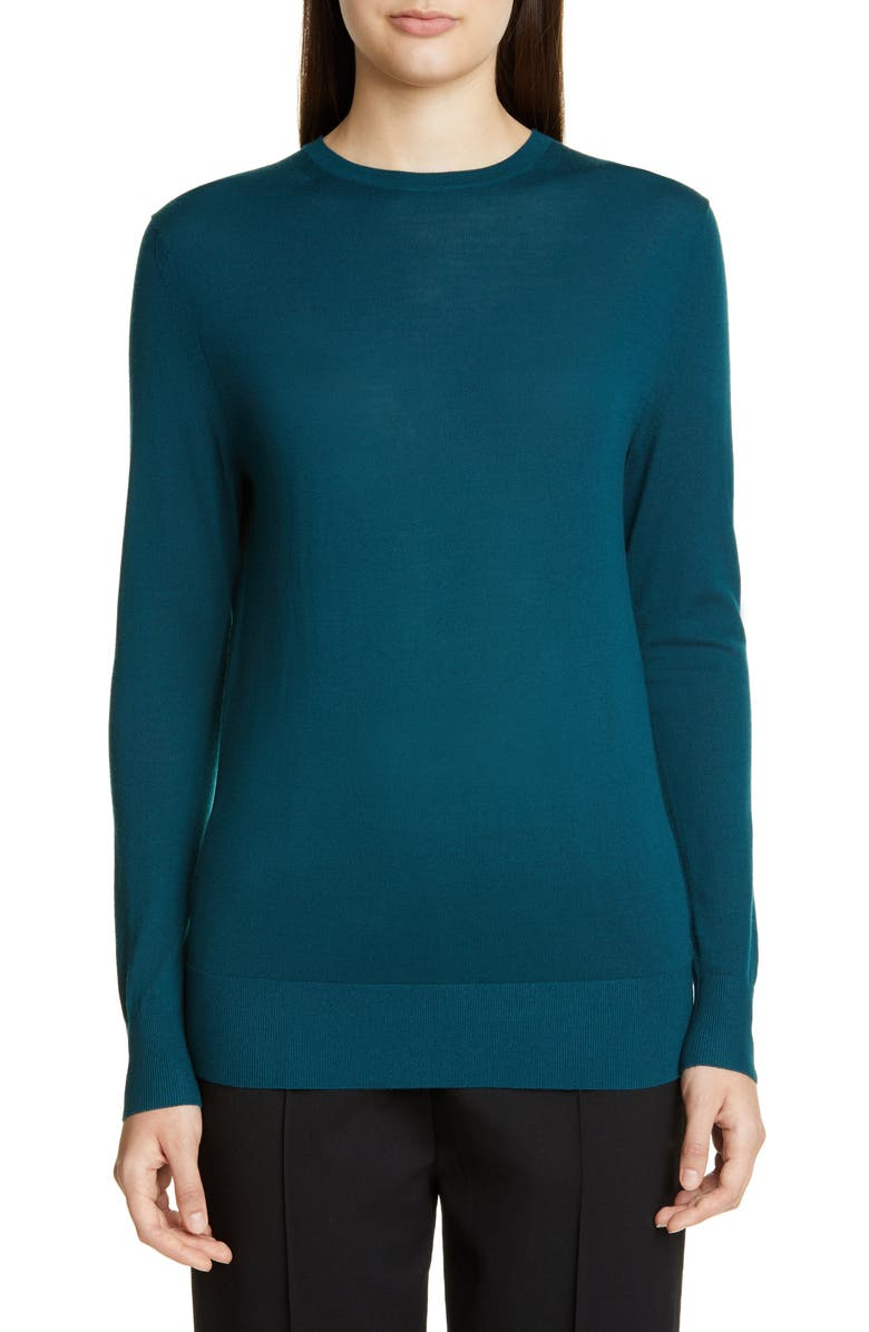ST. JOHN COLLECTION Extrafine Merino Wool Jersey Sweater, Main, color, PETROL