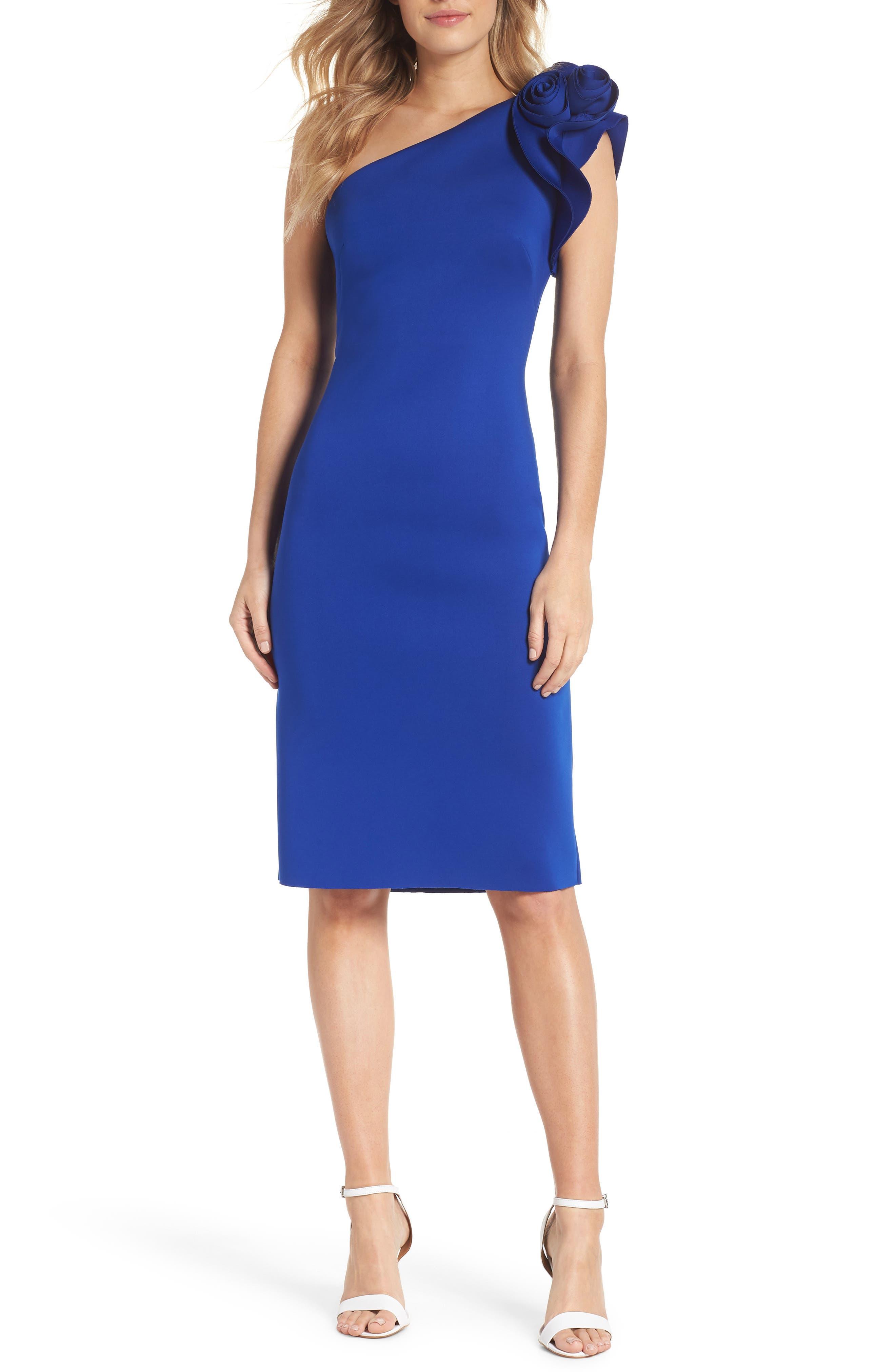 Eliza J One-Shoulder Sheath Cocktail Dress, Blue