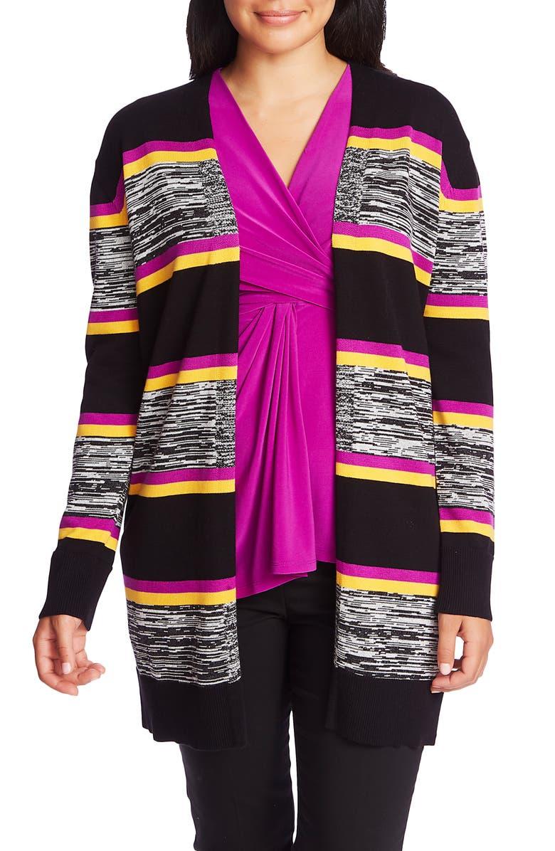 CHAUS Stripe Open Front Cardigan, Main, color, RICH BLACK