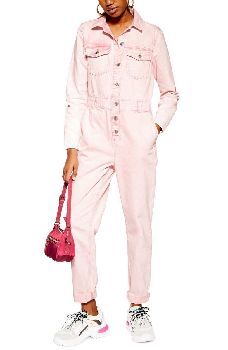 TOPSHOP Acid Wash Jumpsuit, Main, color, PINK