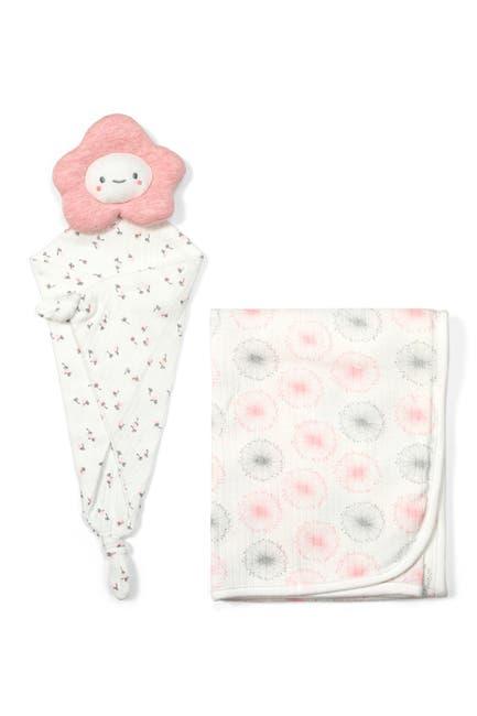 Image of RABBIT AND BEAR ORGANIC Dandelion Print Swaddle Blanket & Cloud Lovey 2-Piece Set