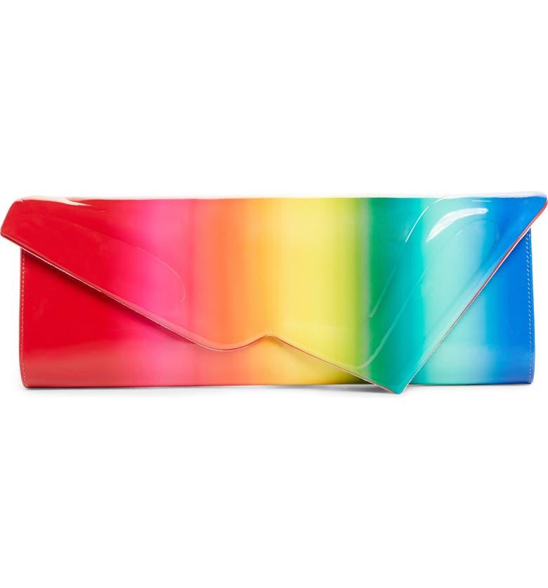CHRISTIAN LOUBOUTIN So Kate Rainbow Leather Clutch, Main, color, MULTI