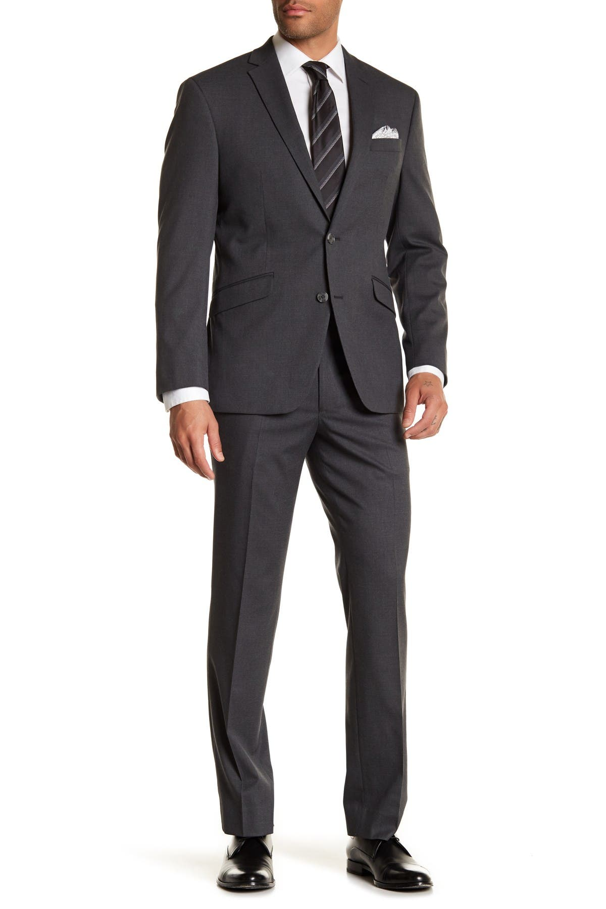 Image of Kenneth Cole Reaction Gray Check Two Button Notch Lapel Performance Stretch Slim Fit Suit