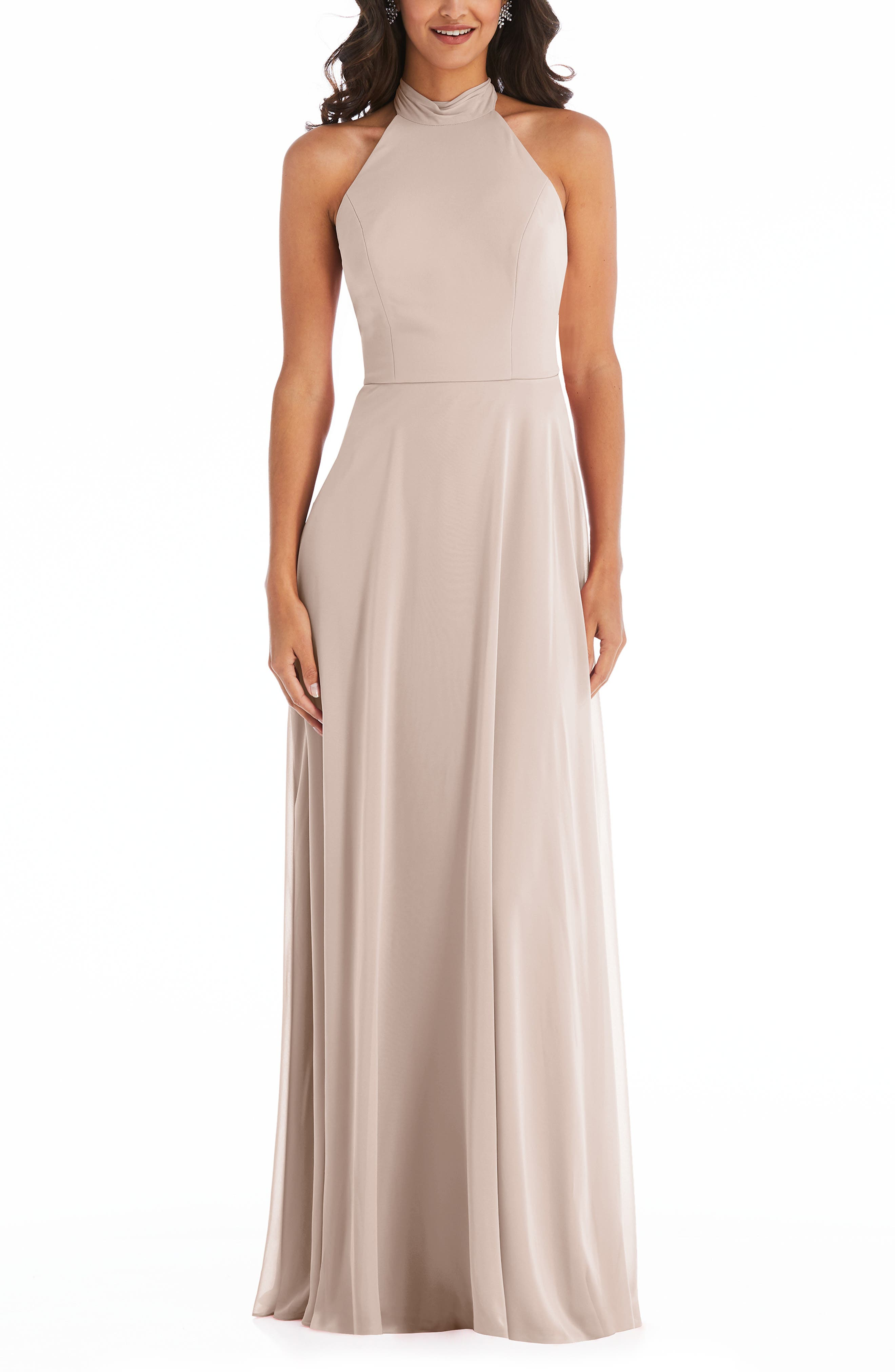 Backless Halter Evening Gown