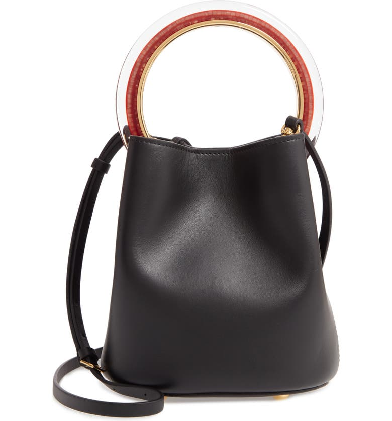 MARNI Pannier Top Handle Leather Bucket Bag, Main, color, BLACK