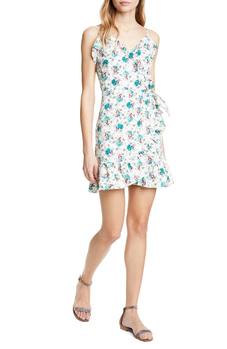 REBECCA TAYLOR Carnation Print Sundress, Main, color, EMERALD COMBO