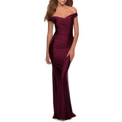 La Femme Off The Shoulder Trumpet Gown, Burgundy