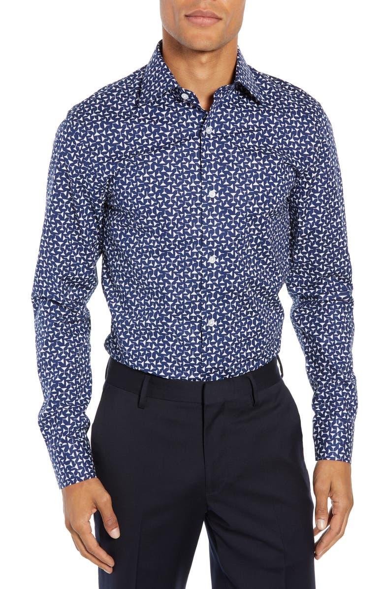 BONOBOS Jetsetter Martini Slim Fit Print Dress Shirt, Main, color, 400
