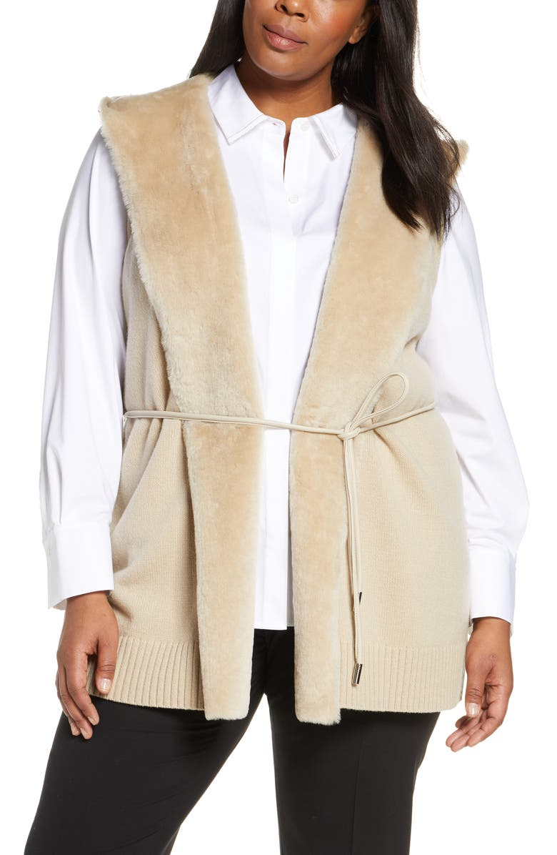 LAFAYETTE 148 NEW YORK Wool & Cashmere Vest with Genuine Shearling Trim, Main, color, BISQUE