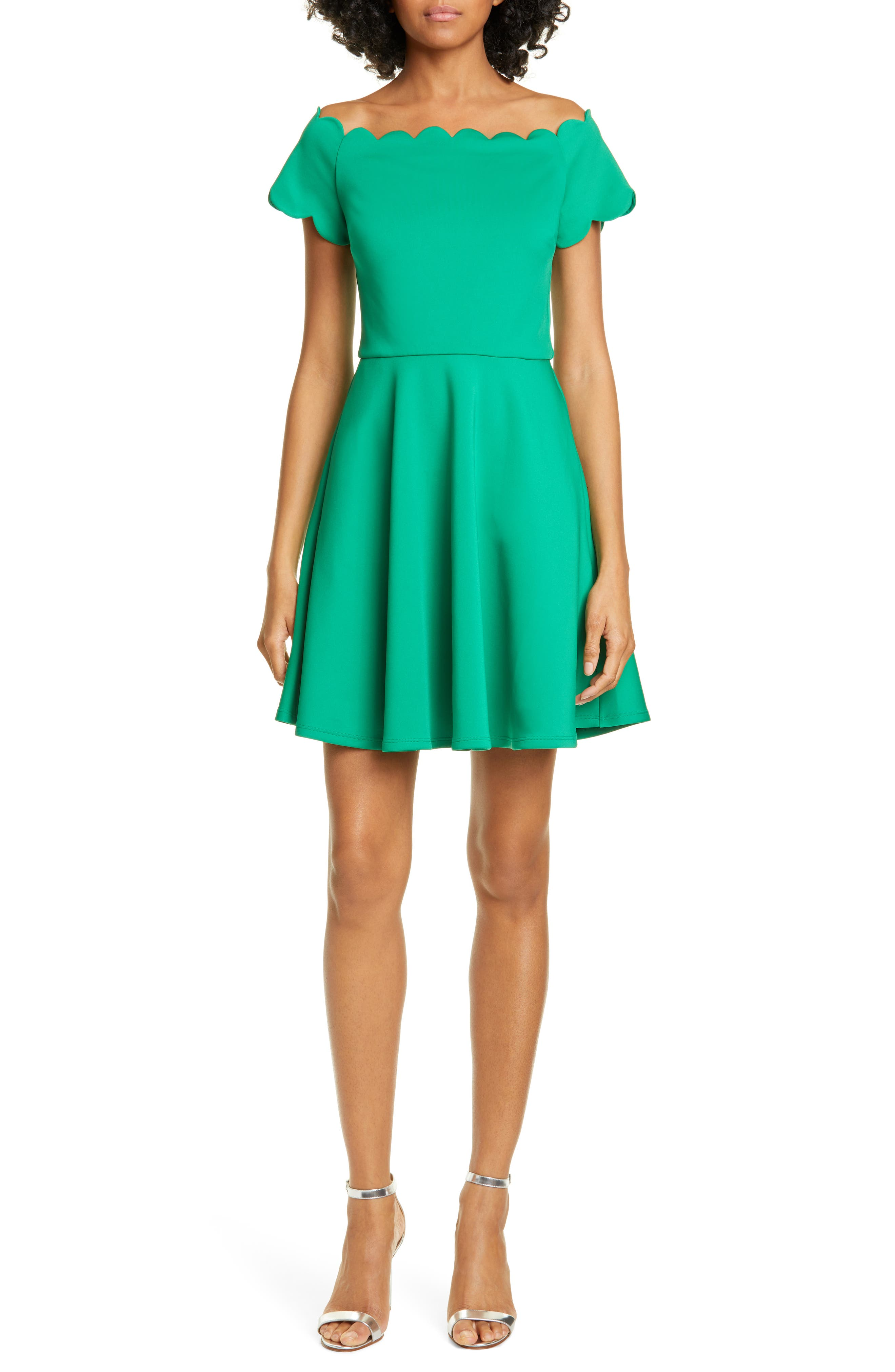 Ted Baker London Fellama Scallop Detail Skater Dress, Green